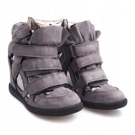 Sneakersy Na Koturnie Na Rzepe 6041 Szary szare 3