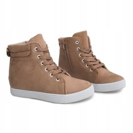 Sneakersy Na Koturnie TL089 Beżowy 1
