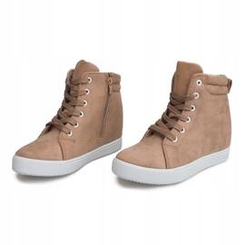 Sneakersy Na Koturnie TL089 Beżowy 2