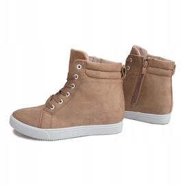 Sneakersy Na Koturnie TL089 Beżowy 3