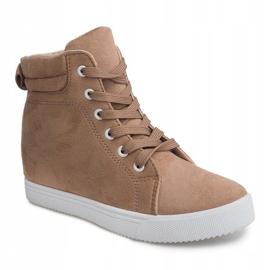 Sneakersy Na Koturnie TL089 Beżowy 4
