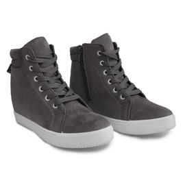 Sneakersy Na Koturnie TL089 Szary szare 1