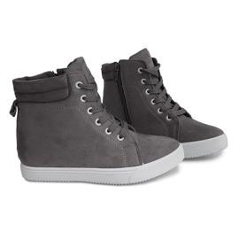 Sneakersy Na Koturnie TL089 Szary szare 2