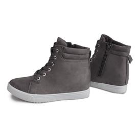 Sneakersy Na Koturnie TL089 Szary szare 3