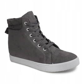 Sneakersy Na Koturnie TL089 Szary szare 4