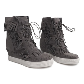 Sneakersy Na Koturnie Z Frędzlami Boho 7A1453 Szary szare 3