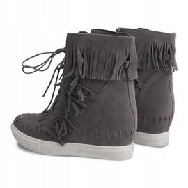 Sneakersy Na Koturnie Z Frędzlami Boho 7A1453 Szary szare 4