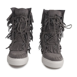 Sneakersy Na Koturnie Z Frędzlami Boho 7A1453 Szary szare 1