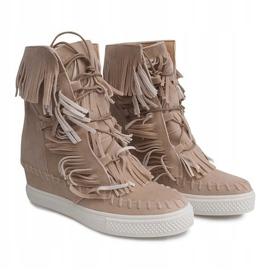 Sneakersy Na Koturnie Z Frędzlami Boho 7A1453 Beżowy 3