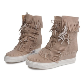 Sneakersy Na Koturnie Z Frędzlami Boho 7A1453 Beżowy 4