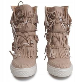 Sneakersy Na Koturnie Z Frędzlami Boho 7A1453 Beżowy 2