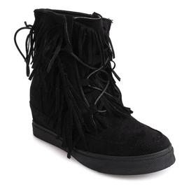 Sneakersy Na Koturnie Z Frędzlami Boho 881-2 Czarny czarne 2