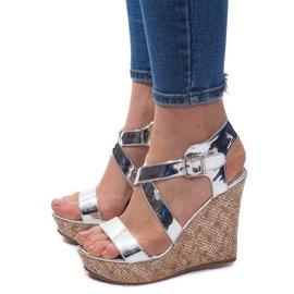 Sandały Na Koturnie S260 Srebrny szare 1