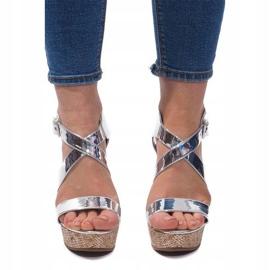 Sandały Na Koturnie S260 Srebrny szare 2