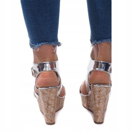 Sandały Na Koturnie S260 Srebrny szare 3