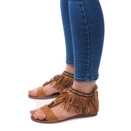 Zamszowe Sandały Boho 8-9 Camel brązowe 1