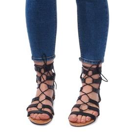 Sandały Gladiatorki Rzymianki 8515 Czarny czarne 2