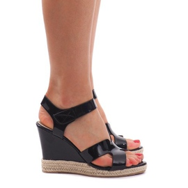 Sandały Na Koturnie 5H5670 Czarny czarne 1