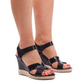 Sandały Na Koturnie 5H5670 Czarny czarne 4