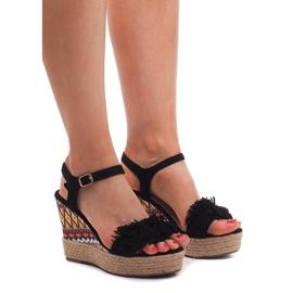 Sandały Na Koturnie Espadryle FY8288 Czarny czarne 2