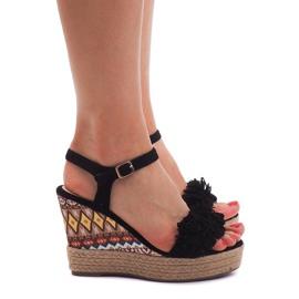 Sandały Na Koturnie Espadryle FY8288 Czarny czarne 3