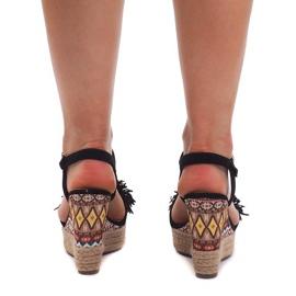 Sandały Na Koturnie Espadryle FY8288 Czarny czarne 4