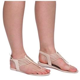 Sandały Meliski Z Cyrkoniami 001-356 Beżowy brązowe 1
