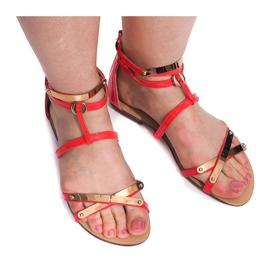 Lakierowane Sandały Blacha E-103 Czerwony czerwone 1