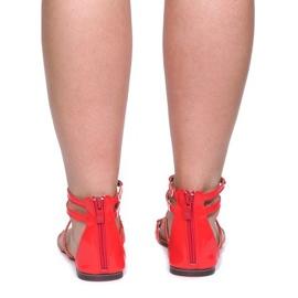 Lakierowane Sandały Blacha E-103 Czerwony czerwone 3