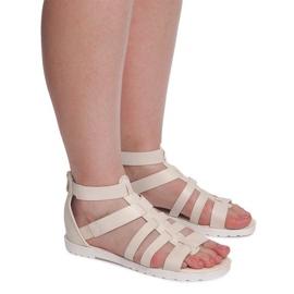 Sandały Rzymianki LEI-109 Beżowy brązowe 4
