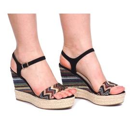 Sandały Na Koturnie 100-540 Czarny czarne 3