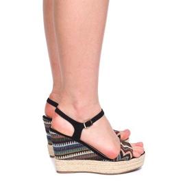 Sandały Na Koturnie 100-540 Czarny czarne 4