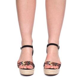 Sandały Na Koturnie 100-540 Czarny czarne 2