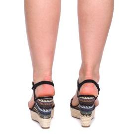 Sandały Na Koturnie 100-540 Czarny czarne 1