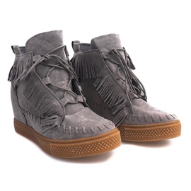 Sneakersy Na Koturnie Z Frędzlami Boho F3 Szare 1