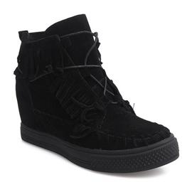 Sneakersy Na Koturnie Z Frędzlami Boho F3 Czarny czarne 4