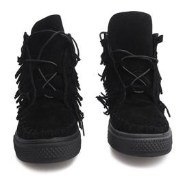 Sneakersy Na Koturnie Z Frędzlami Boho F3 Czarny czarne 2