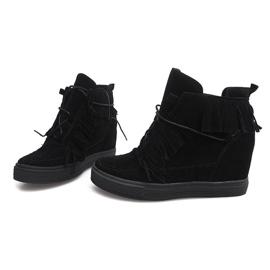 Sneakersy Na Koturnie Z Frędzlami Boho F3 Czarny czarne 3