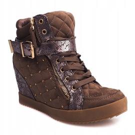 Sneakersy Na Koturnie 6227-Y Khaki wielokolorowe zielone 2