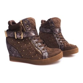Sneakersy Na Koturnie 6227-Y Khaki wielokolorowe zielone 1