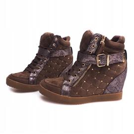 Sneakersy Na Koturnie 6227-Y Khaki wielokolorowe zielone 3