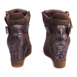 Sneakersy Na Koturnie 6227-Y Khaki wielokolorowe zielone 4