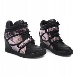 Sneakersy Na Koturnie R5060-4 Czarny czarne 4