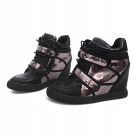 Sneakersy Na Koturnie R5060-4 Czarny czarne 1