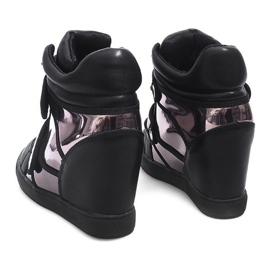 Sneakersy Na Koturnie R5060-4 Czarny czarne 2