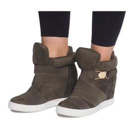 Sneakersy Na Koturnie 6671-Y Zielony zielone 2