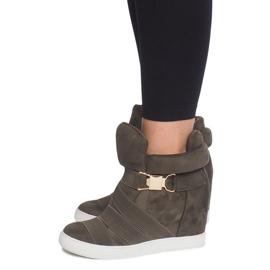Sneakersy Na Koturnie 6671-Y Zielony zielone 3