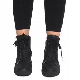 Ażurowe Sneakersy Na Koturnie HQ881 Czarny czarne 2