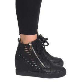 Ażurowe Sneakersy Na Koturnie HQ881 Czarny czarne 3