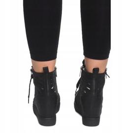 Ażurowe Sneakersy Na Koturnie HQ881 Czarny czarne 4